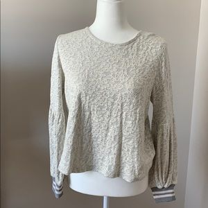 Gray and white long sleeve top